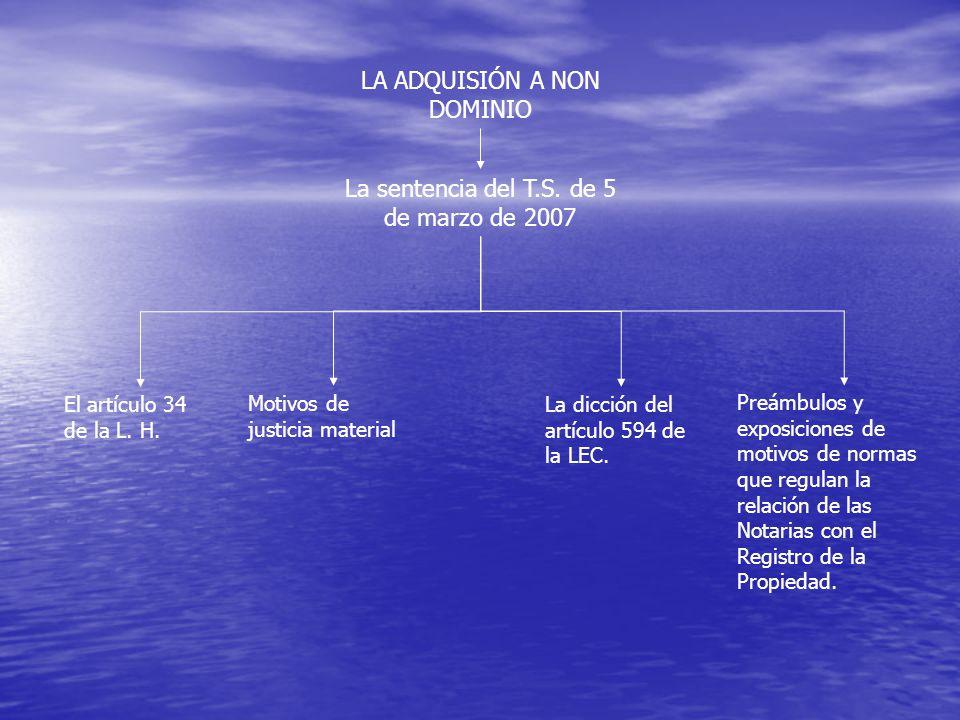 LA ADQUISIÓN A NON DOMINIO La sentencia del T.S. de 5 de marzo de 2007 El artículo 34 de la L.