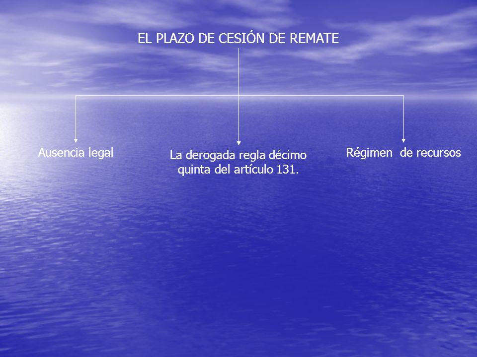 EL PLAZO DE CESIÓN DE REMATE Ausencia legal Régimen de recursos La derogada regla décimo quinta del artículo 131.