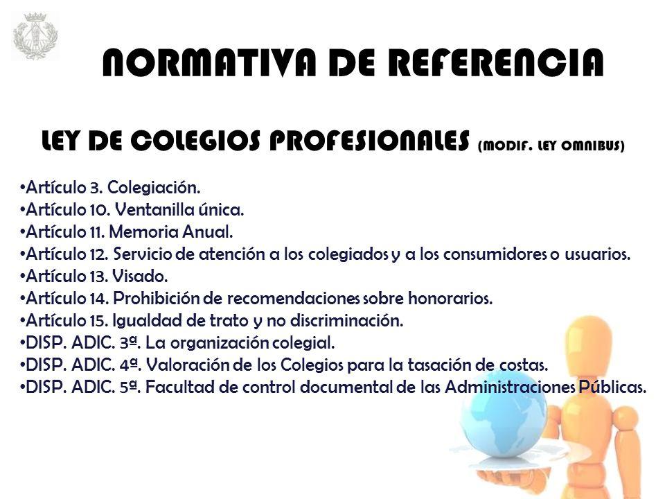 LEY DE COLEGIOS PROFESIONALES (MODIF. LEY OMNIBUS) Artículo 3.