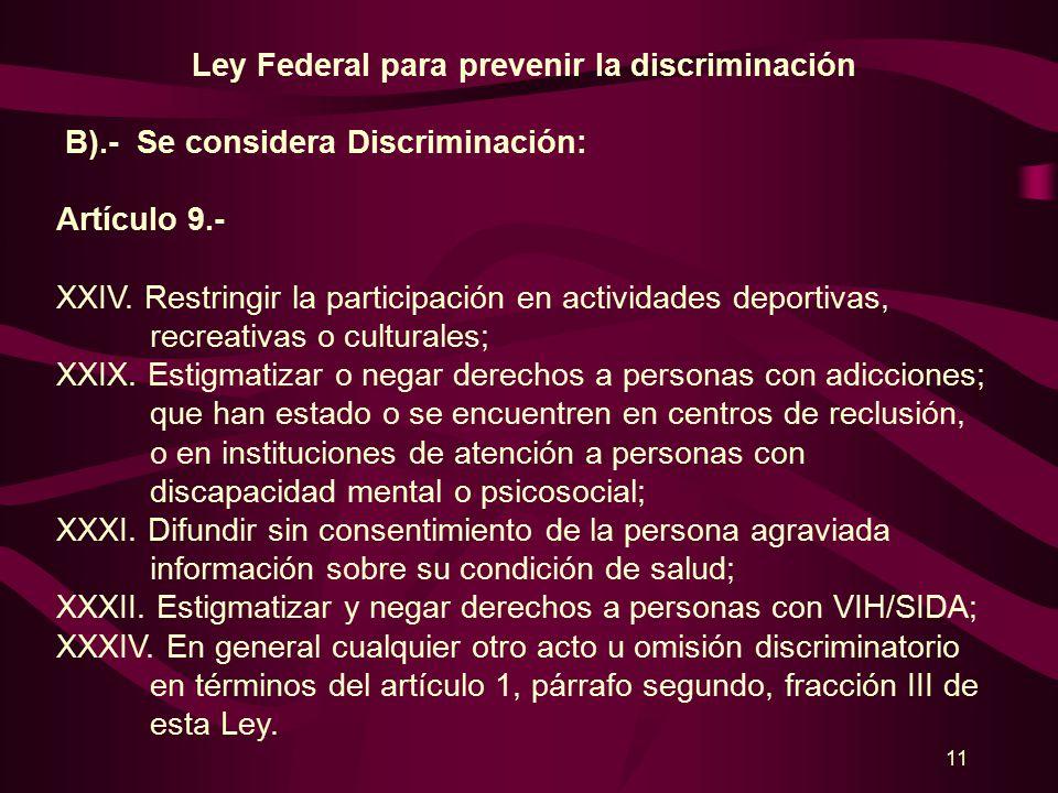 10 Ley Federal para prevenir la discriminación B).- Se considera Discriminación: Artículo 9.- VIII.