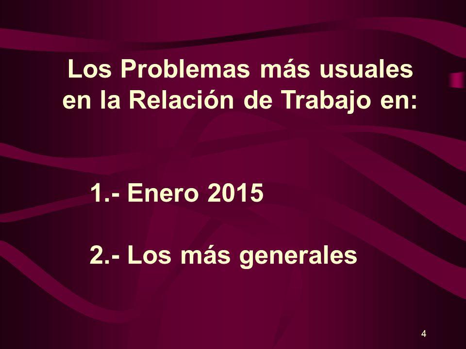 Los Problemas más usuales en la Relación de Trabajo en Enero 2015 Lic.