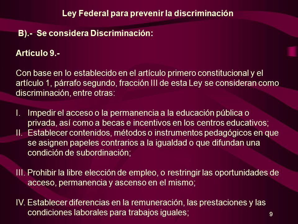 8 Ley Federal para prevenir la discriminación Artículo 1.- III.