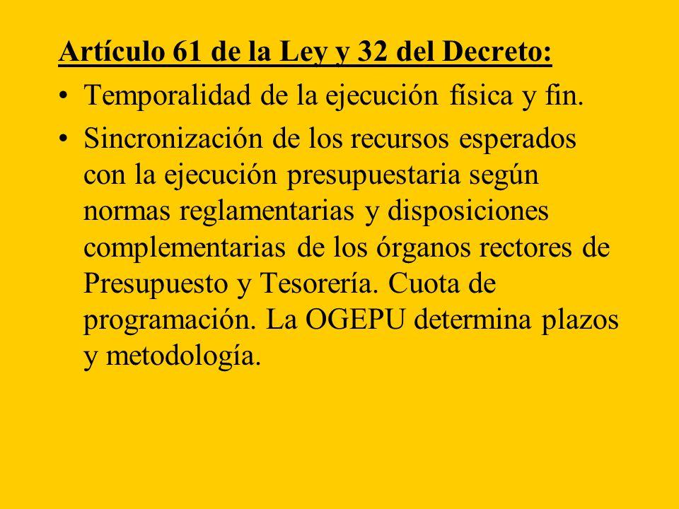 Artículo 61 de la Ley y 32 del Decreto: Temporalidad de la ejecución física y fin.