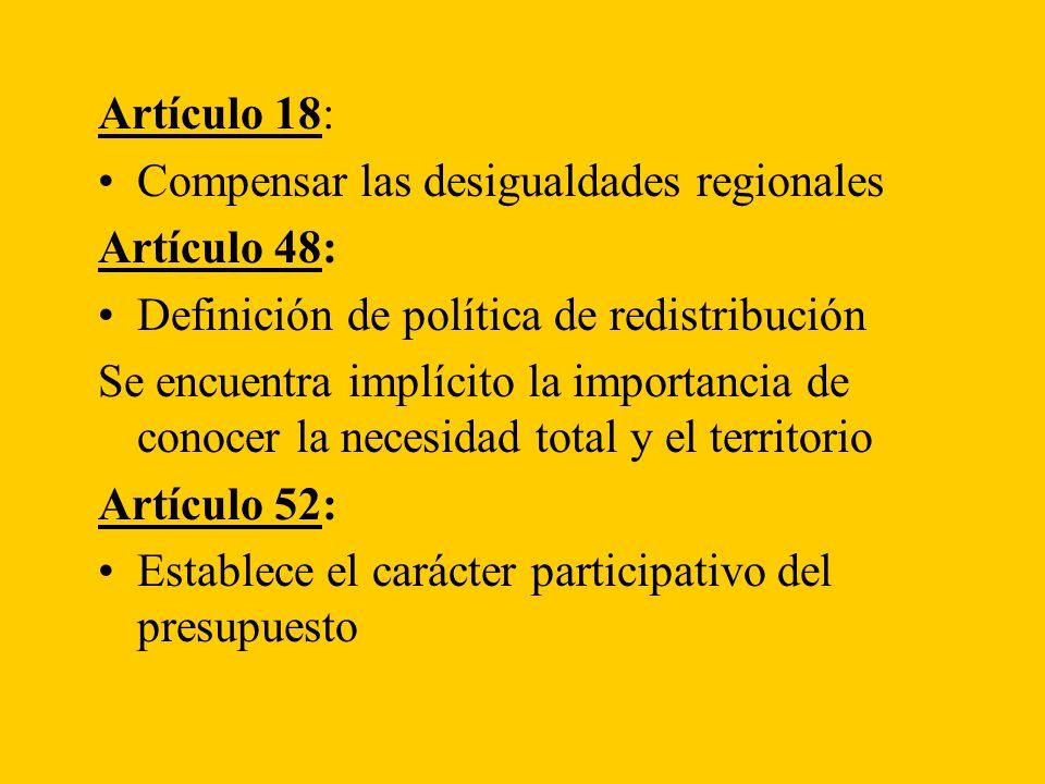 Artículo 18: Compensar las desigualdades regionales Artículo 48: Definición de política de redistribución Se encuentra implícito la importancia de conocer la necesidad total y el territorio Artículo 52: Establece el carácter participativo del presupuesto