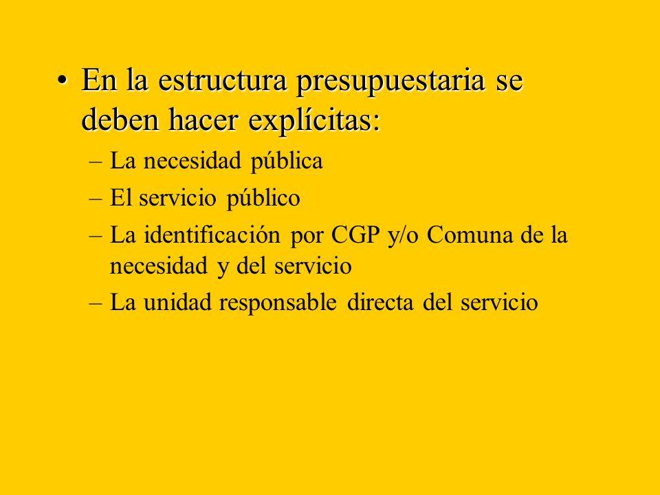 En la estructura presupuestaria se deben hacer explícitas:En la estructura presupuestaria se deben hacer explícitas: –La necesidad pública –El servicio público –La identificación por CGP y/o Comuna de la necesidad y del servicio –La unidad responsable directa del servicio