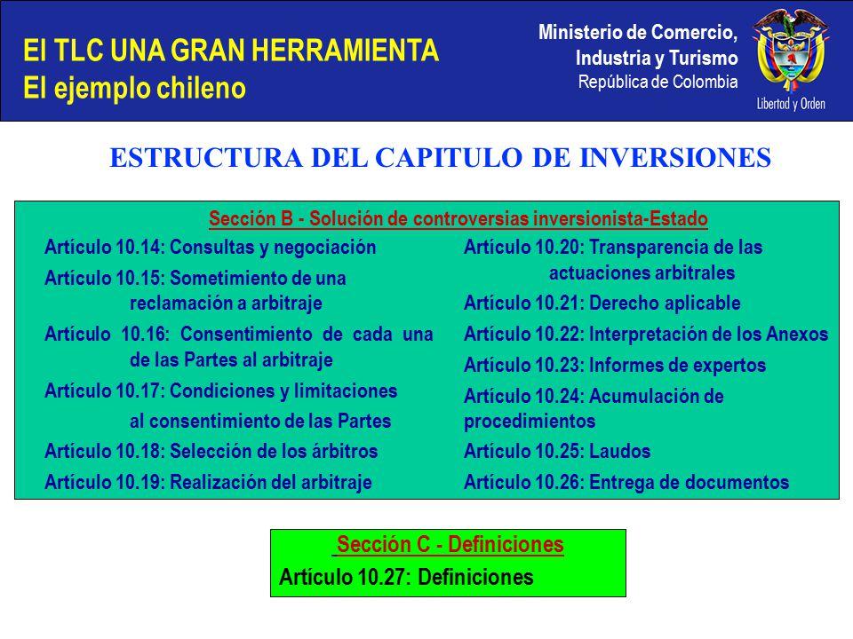 Ministerio de Comercio, Industria y Turismo República de Colombia Artículo 10.14: Consultas y negociación Artículo 10.15: Sometimiento de una reclamación a arbitraje Artículo 10.16: Consentimiento de cada una de las Partes al arbitraje Artículo 10.17: Condiciones y limitaciones al consentimiento de las Partes Artículo 10.18: Selección de los árbitros Artículo 10.19: Realización del arbitraje Artículo 10.20: Transparencia de las actuaciones arbitrales Artículo 10.21: Derecho aplicable Artículo 10.22: Interpretación de los Anexos Artículo 10.23: Informes de expertos Artículo 10.24: Acumulación de procedimientos Artículo 10.25: Laudos Artículo 10.26: Entrega de documentos Sección B - Solución de controversias inversionista-Estado Sección C - Definiciones Artículo 10.27: Definiciones El TLC UNA GRAN HERRAMIENTA El ejemplo chileno ESTRUCTURA DEL CAPITULO DE INVERSIONES