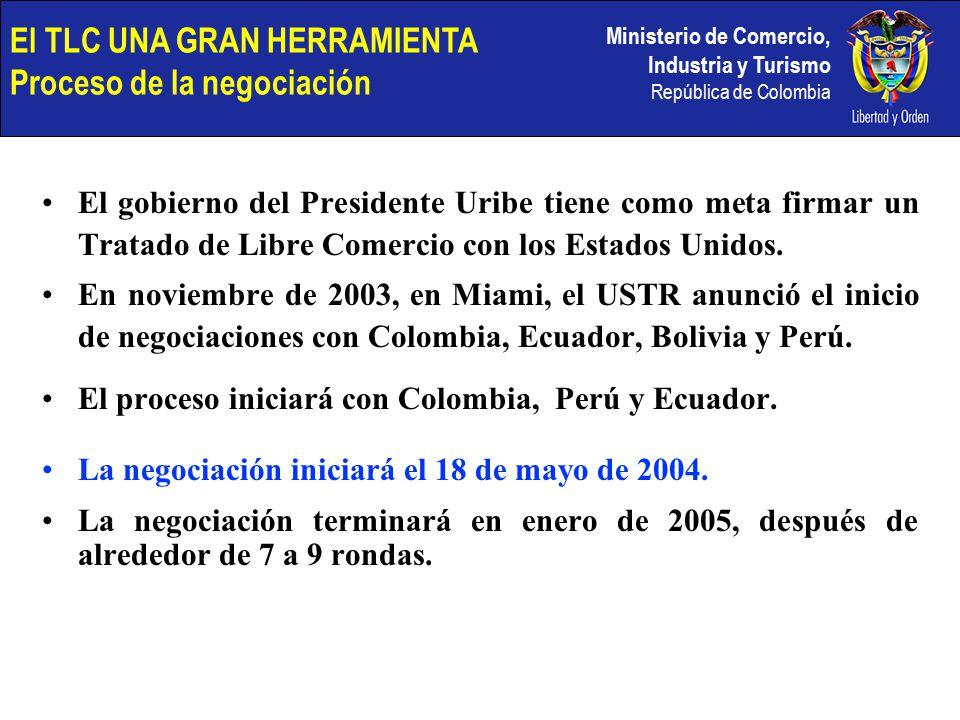 Ministerio de Comercio, Industria y Turismo República de Colombia El gobierno del Presidente Uribe tiene como meta firmar un Tratado de Libre Comercio con los Estados Unidos.