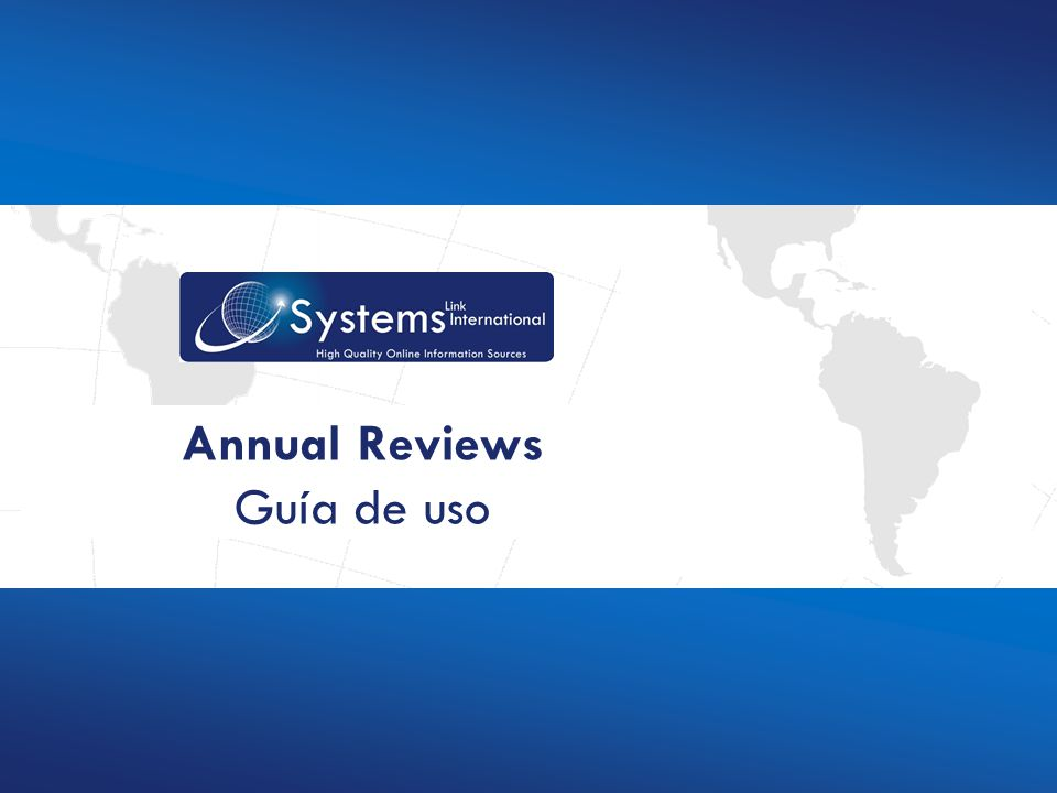 www.sysemsint.info Annual Reviews Guía de uso