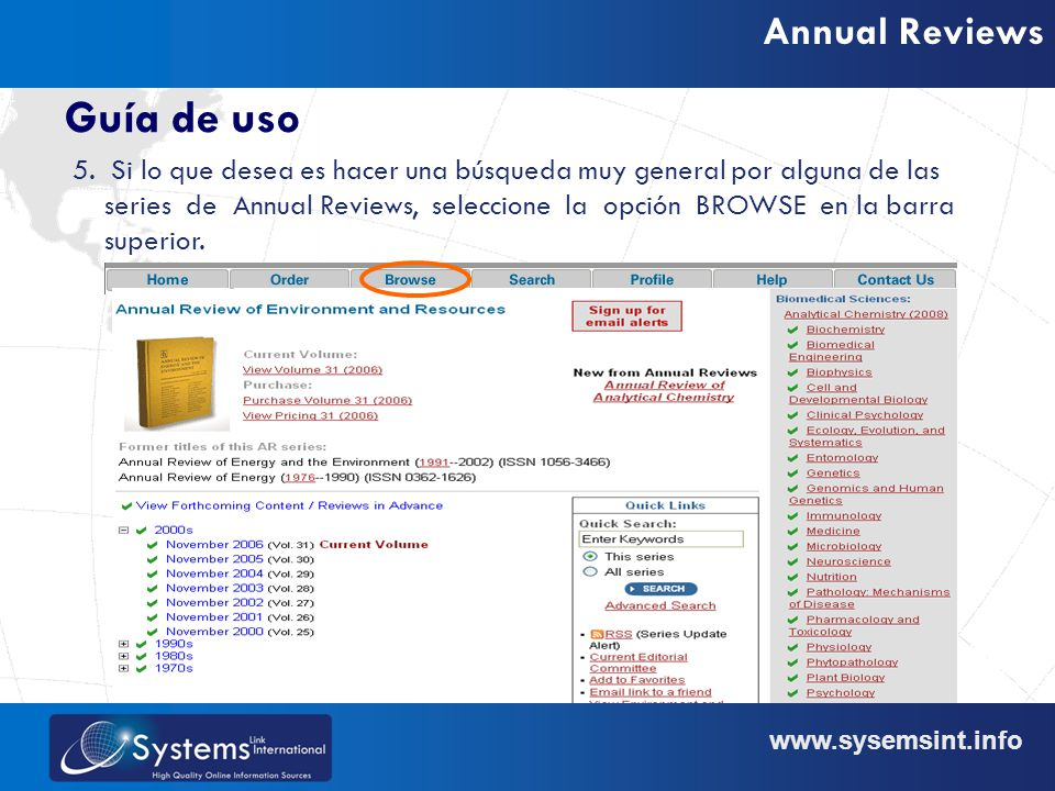 www.sysemsint.info Annual Reviews Guía de uso 5.