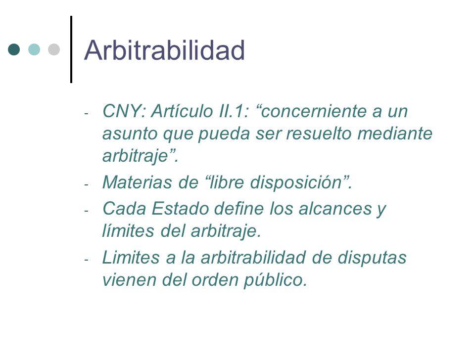 - CNY: Artículo II.1: concerniente a un asunto que pueda ser resuelto mediante arbitraje .