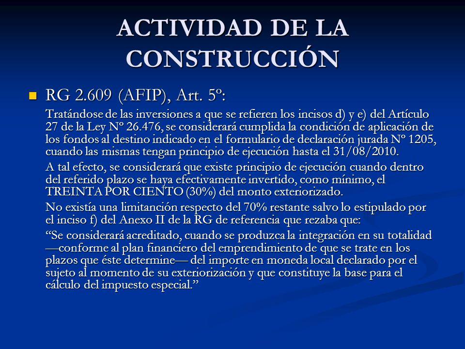 ACTIVIDAD DE LA CONSTRUCCIÓN RG 2.609 (AFIP), Art.