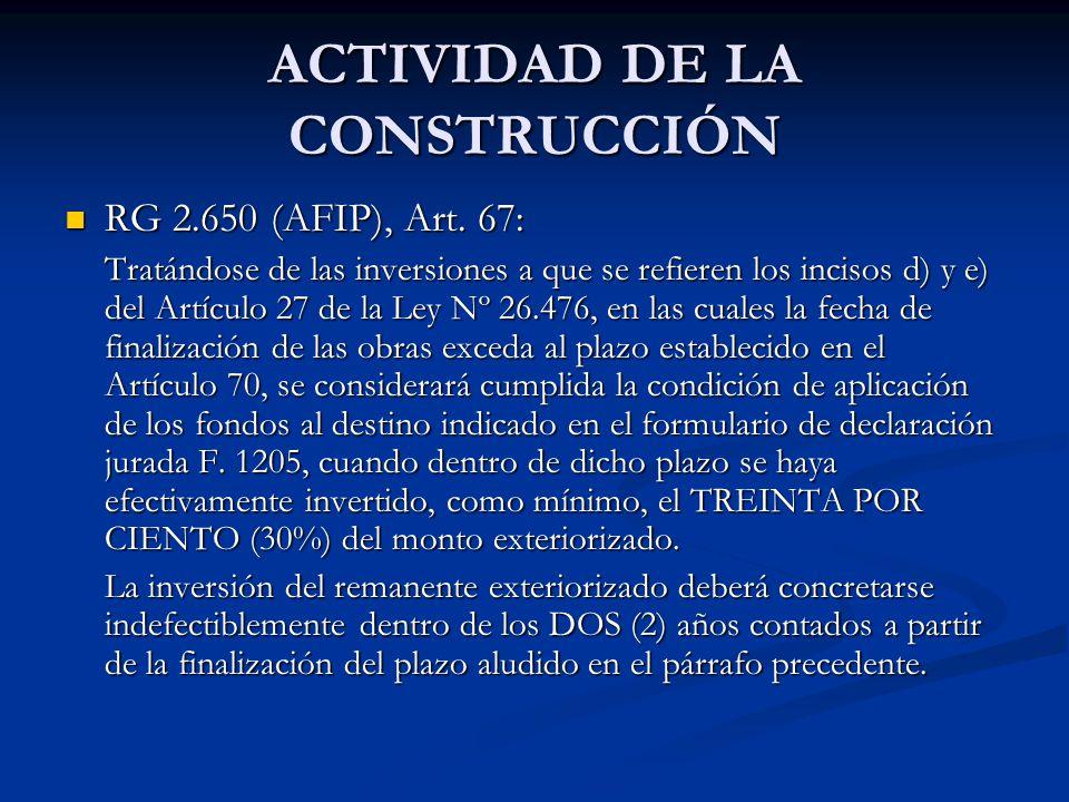 ACTIVIDAD DE LA CONSTRUCCIÓN RG 2.650 (AFIP), Art.