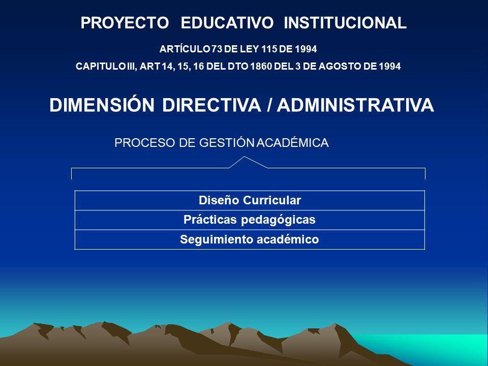 PROYECTO EDUCATIVO INSTITUCIONAL ARTÍCULO 73 DE LEY 115 DE 1994 CAPITULO III, ART 14, 15, 16 DEL DTO 1860 DEL 3 DE AGOSTO DE 1994 DIMENSIÓN DIRECTIVA / ADMINISTRATIVA PROCESO DE GESTIÓN ACADÉMICA Diseño Curricular Prácticas pedagógicas Seguimiento académico