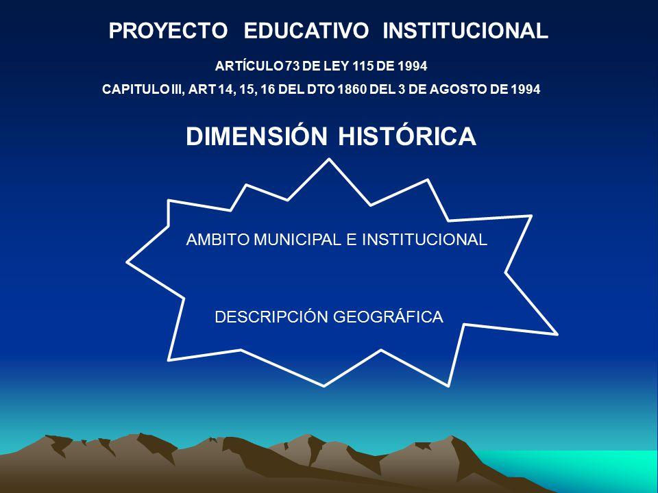 PROYECTO EDUCATIVO INSTITUCIONAL ARTÍCULO 73 DE LEY 115 DE 1994 CAPITULO III, ART 14, 15, 16 DEL DTO 1860 DEL 3 DE AGOSTO DE 1994 DIMENSIÓN HISTÓRICA AMBITO MUNICIPAL E INSTITUCIONAL DESCRIPCIÓN GEOGRÁFICA