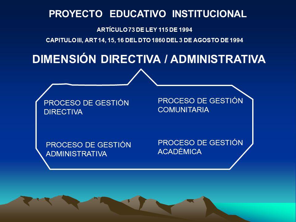 PROYECTO EDUCATIVO INSTITUCIONAL ARTÍCULO 73 DE LEY 115 DE 1994 CAPITULO III, ART 14, 15, 16 DEL DTO 1860 DEL 3 DE AGOSTO DE 1994 DIMENSIÓN DIRECTIVA / ADMINISTRATIVA PROCESO DE GESTIÓN DIRECTIVA PROCESO DE GESTIÓN COMUNITARIA PROCESO DE GESTIÓN ADMINISTRATIVA PROCESO DE GESTIÓN ACADÉMICA