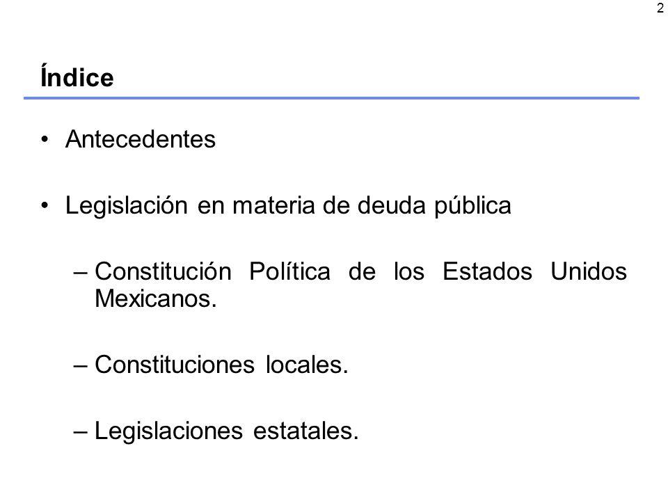 2 Índice Antecedentes Legislación en materia de deuda pública –Constitución Política de los Estados Unidos Mexicanos.