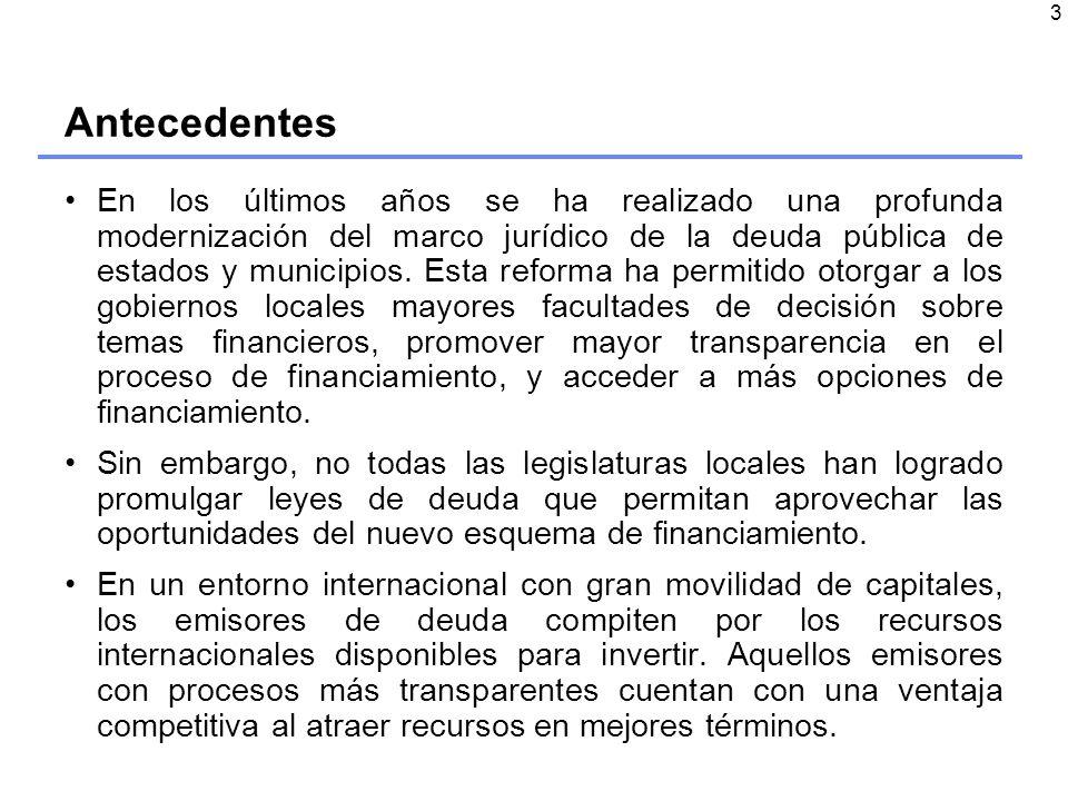3 Antecedentes En los últimos años se ha realizado una profunda modernización del marco jurídico de la deuda pública de estados y municipios.