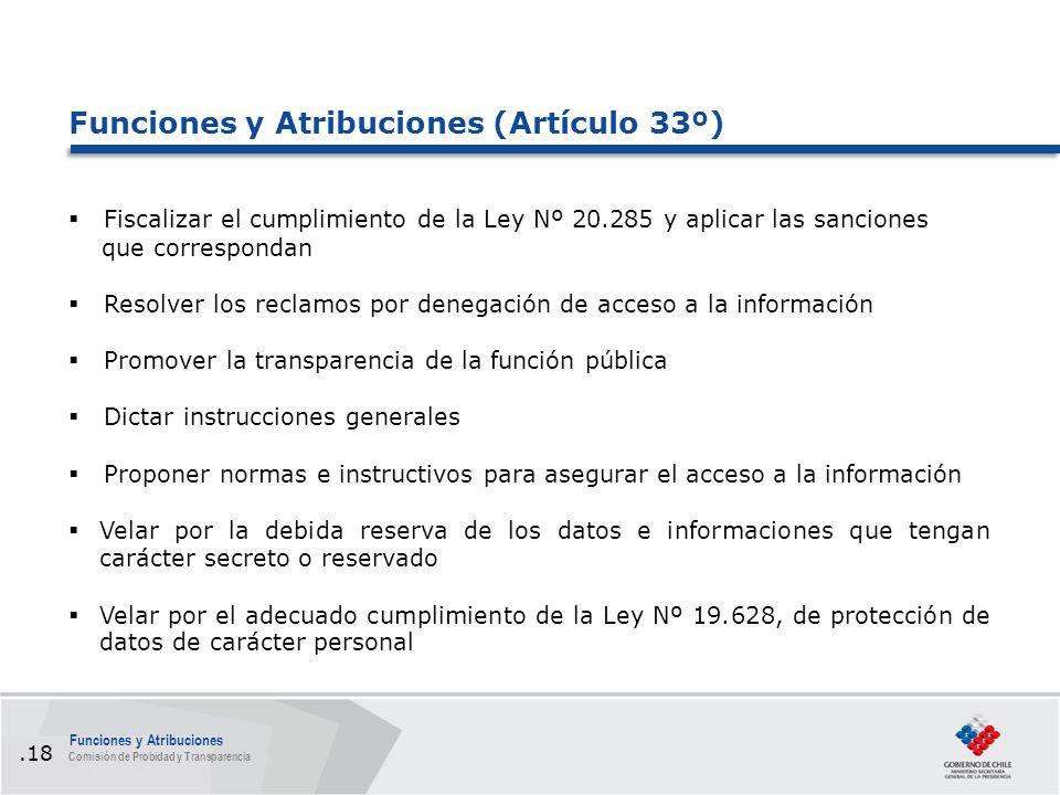 Funciones y Atribuciones (Artículo 33º)  Fiscalizar el cumplimiento de la Ley Nº 20.285 y aplicar las sanciones que correspondan  Resolver los reclamos por denegación de acceso a la información  Promover la transparencia de la función pública  Dictar instrucciones generales  Proponer normas e instructivos para asegurar el acceso a la información  Velar por la debida reserva de los datos e informaciones que tengan carácter secreto o reservado  Velar por el adecuado cumplimiento de la Ley Nº 19.628, de protección de datos de carácter personal Funciones y Atribuciones Comisión de Probidad y Transparencia.18