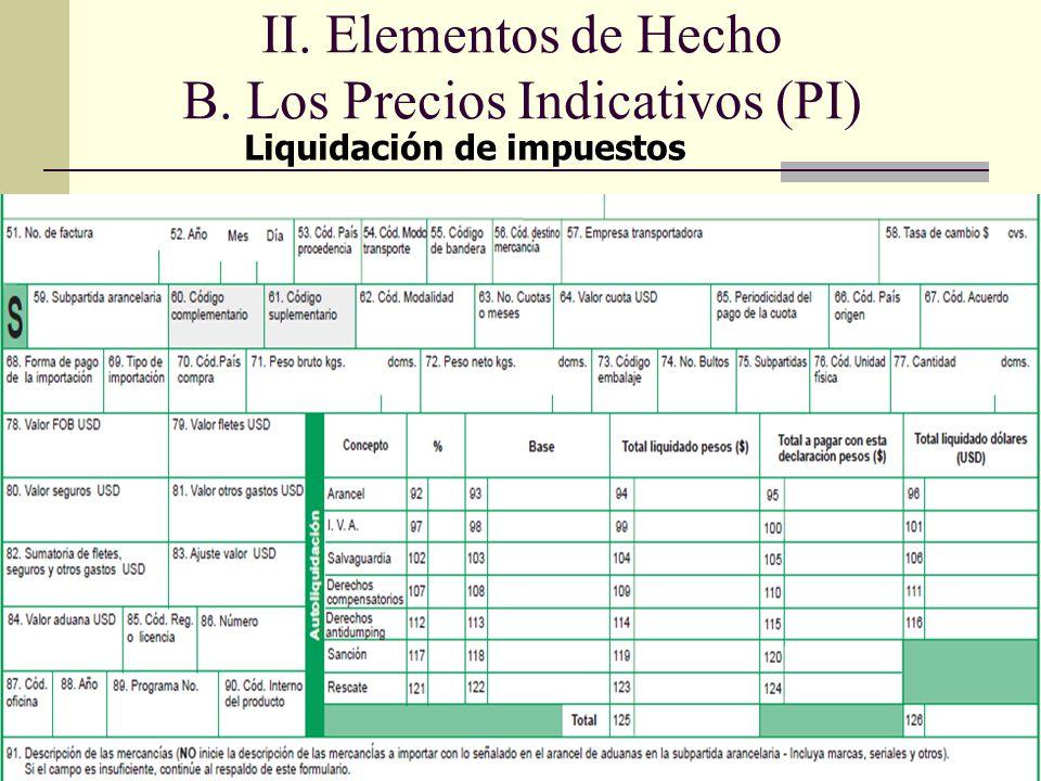de impuestos Liquidación de impuestos II. Elementos de Hecho B. Los Precios Indicativos (PI)
