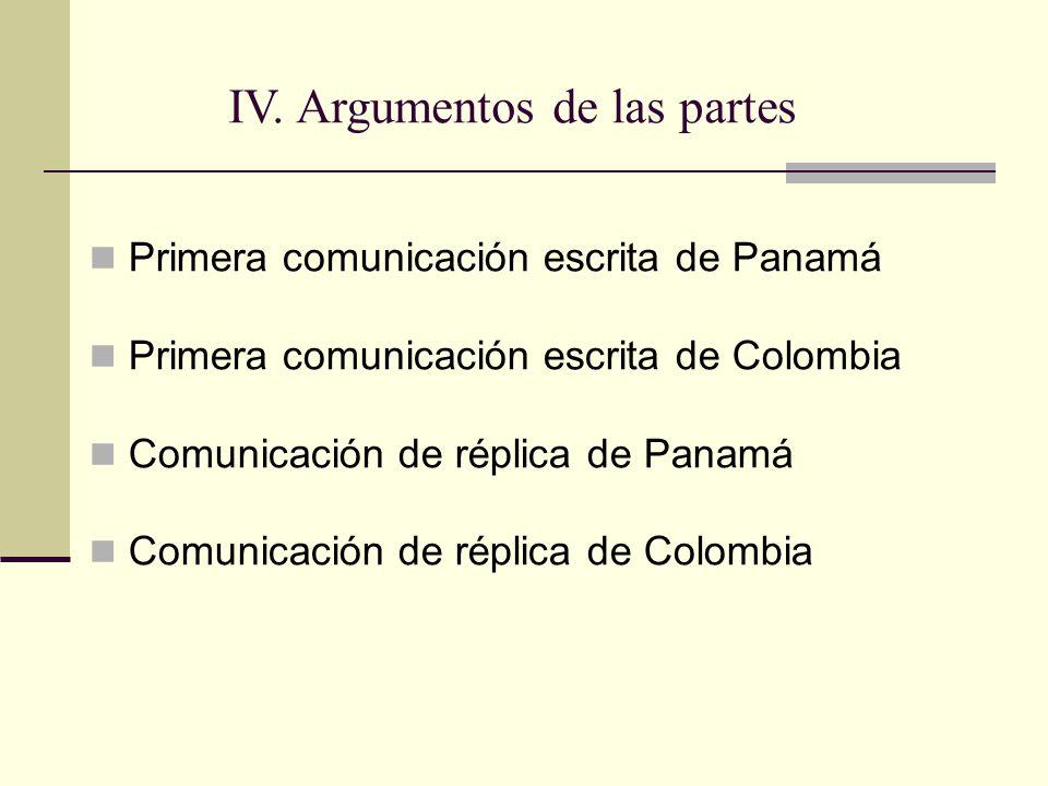 Primera comunicación escrita de Panamá Primera comunicación escrita de Colombia Comunicación de réplica de Panamá Comunicación de réplica de Colombia IV.