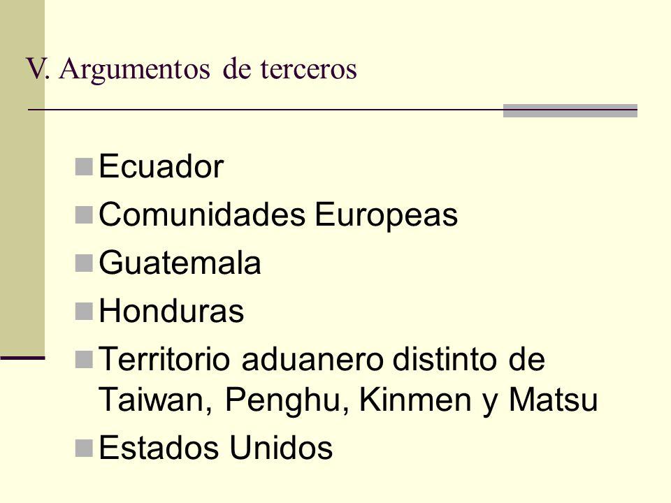 Ecuador Comunidades Europeas Guatemala Honduras Territorio aduanero distinto de Taiwan, Penghu, Kinmen y Matsu Estados Unidos V.