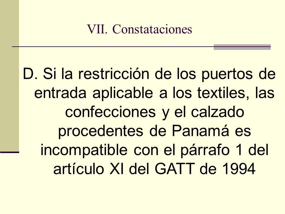VII. Constataciones D.