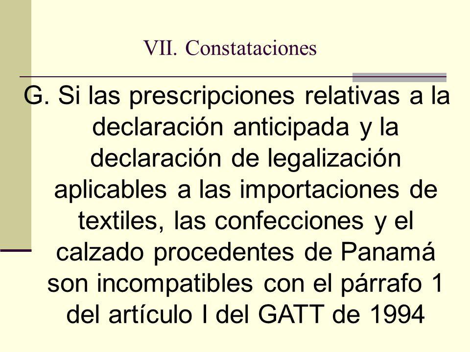 VII. Constataciones G.