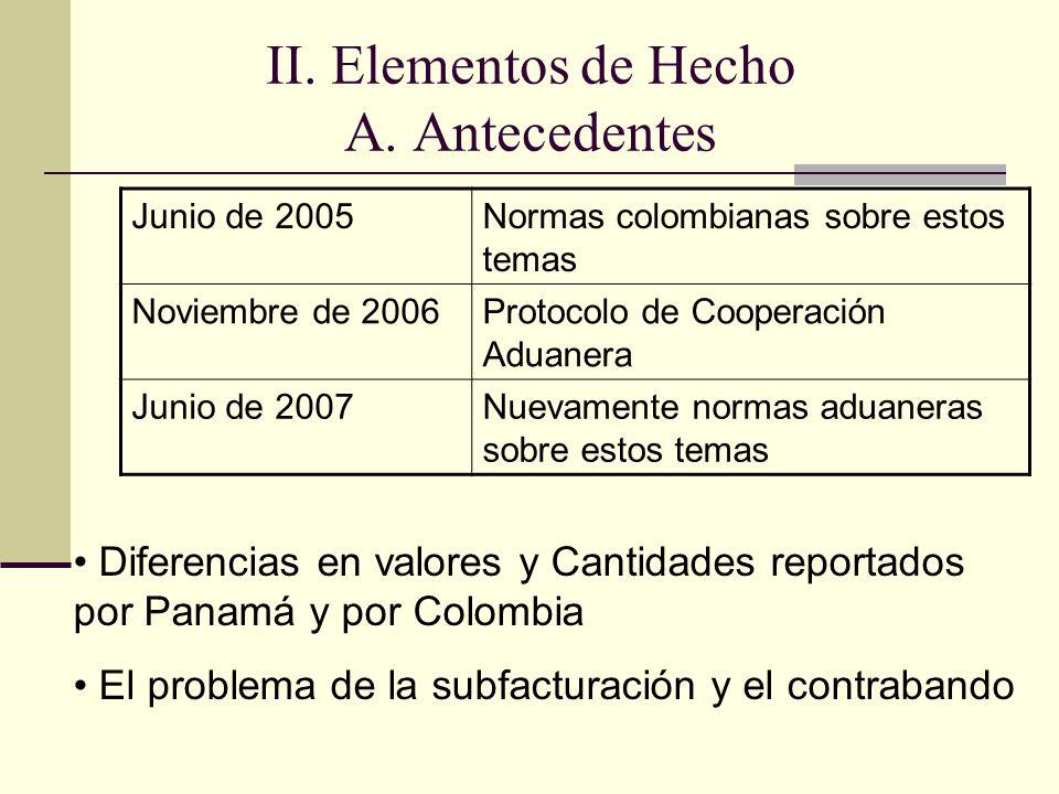 II. Elementos de Hecho A.