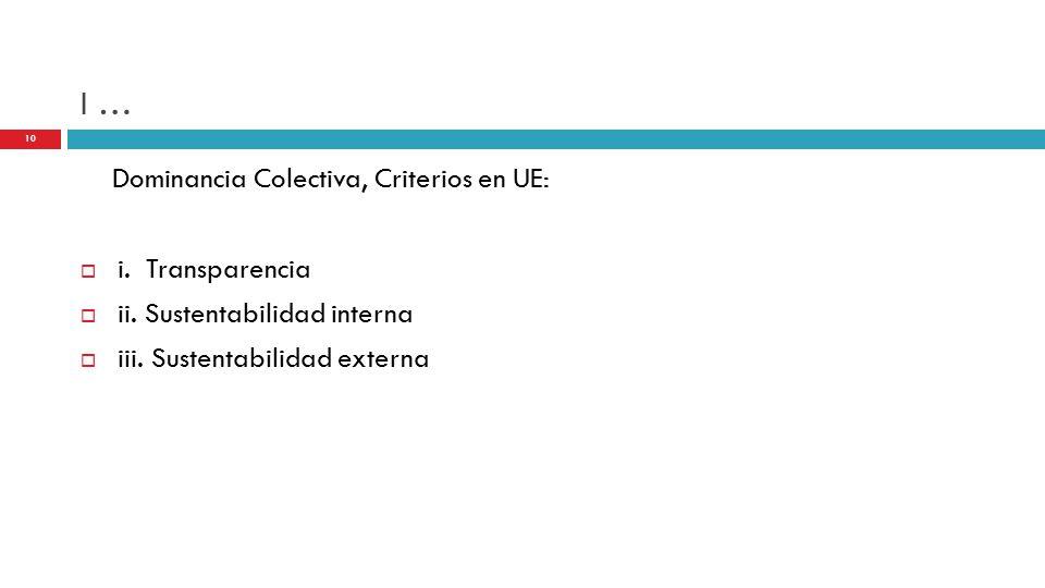 I … Dominancia Colectiva, Criterios en UE:  i. Transparencia  ii.