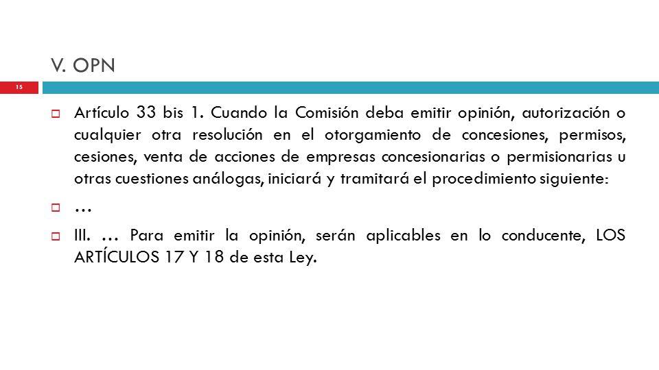 V. OPN  Artículo 33 bis 1.