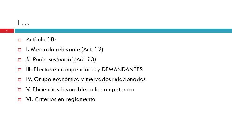 I …  Artículo 18:  I. Mercado relevante (Art. 12)  II.