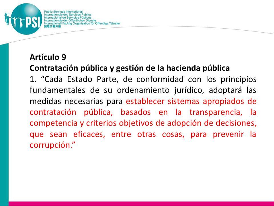 Artículo 9 Contratación pública y gestión de la hacienda pública 1.