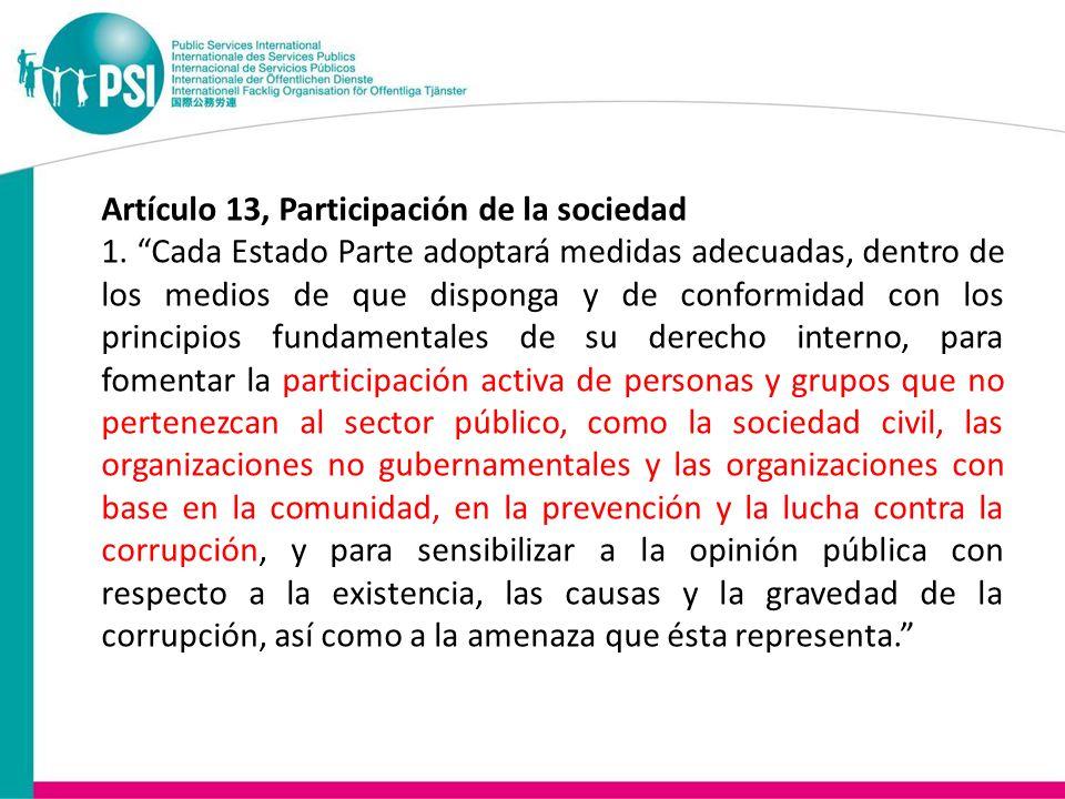 Artículo 13, Participación de la sociedad 1.