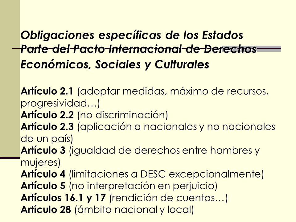 Obligaciones específicas de los Estados Parte del Pacto Internacional de Derechos Económicos, Sociales y Culturales Artículo 2.1 (adoptar medidas, máximo de recursos, progresividad…) Artículo 2.2 (no discriminación) Artículo 2.3 (aplicación a nacionales y no nacionales de un país) Artículo 3 (igualdad de derechos entre hombres y mujeres) Artículo 4 (limitaciones a DESC excepcionalmente) Artículo 5 (no interpretación en perjuicio) Artículos 16.1 y 17 (rendición de cuentas…) Artículo 28 (ámbito nacional y local)