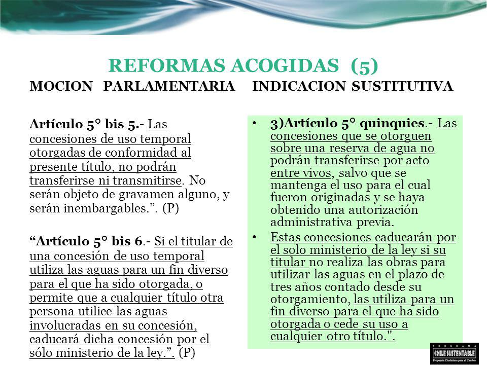 REFORMAS ACOGIDAS (5) MOCION PARLAMENTARIA Artículo 5° bis 5.- Las concesiones de uso temporal otorgadas de conformidad al presente título, no podrán transferirse ni transmitirse.