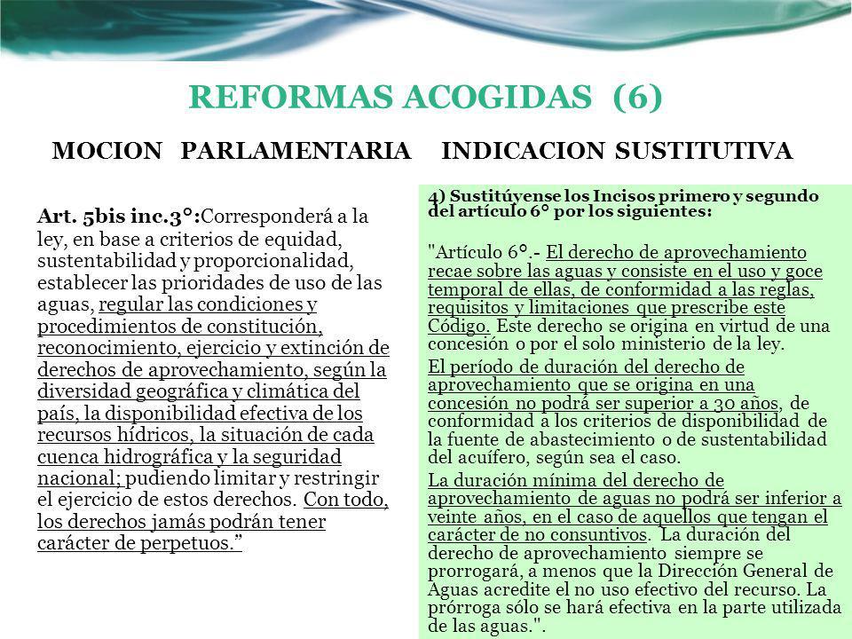 REFORMAS ACOGIDAS (6) MOCION PARLAMENTARIA Art.