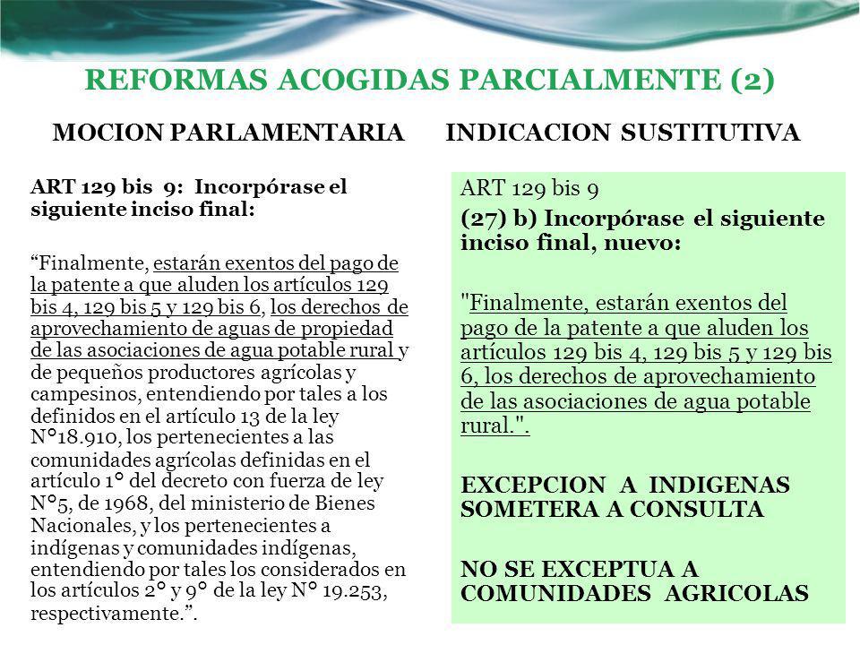 REFORMAS ACOGIDAS PARCIALMENTE (2) MOCION PARLAMENTARIA ART 129 bis 9: Incorpórase el siguiente inciso final: Finalmente, estarán exentos del pago de la patente a que aluden los artículos 129 bis 4, 129 bis 5 y 129 bis 6, los derechos de aprovechamiento de aguas de propiedad de las asociaciones de agua potable rural y de pequeños productores agrícolas y campesinos, entendiendo por tales a los definidos en el artículo 13 de la ley N°18.910, los pertenecientes a las comunidades agrícolas definidas en el artículo 1° del decreto con fuerza de ley N°5, de 1968, del ministerio de Bienes Nacionales, y los pertenecientes a indígenas y comunidades indígenas, entendiendo por tales los considerados en los artículos 2° y 9° de la ley N° 19.253, respectivamente. .