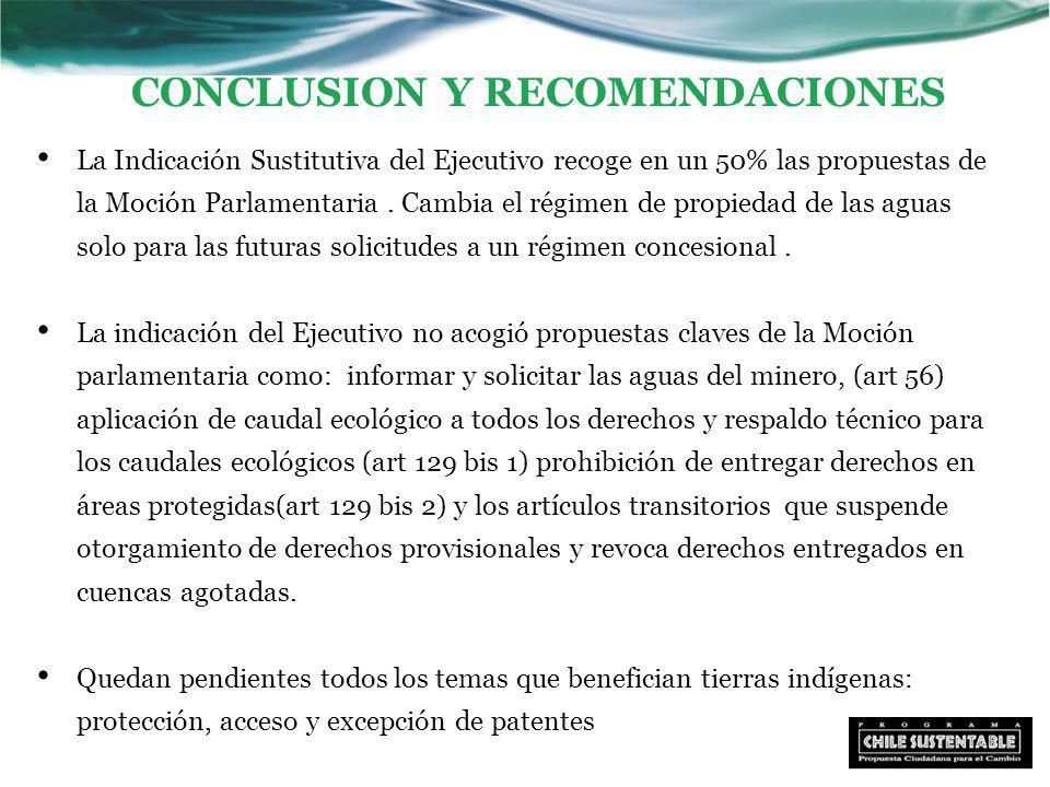 CONCLUSION Y RECOMENDACIONES La Indicación Sustitutiva del Ejecutivo recoge en un 50% las propuestas de la Moción Parlamentaria.