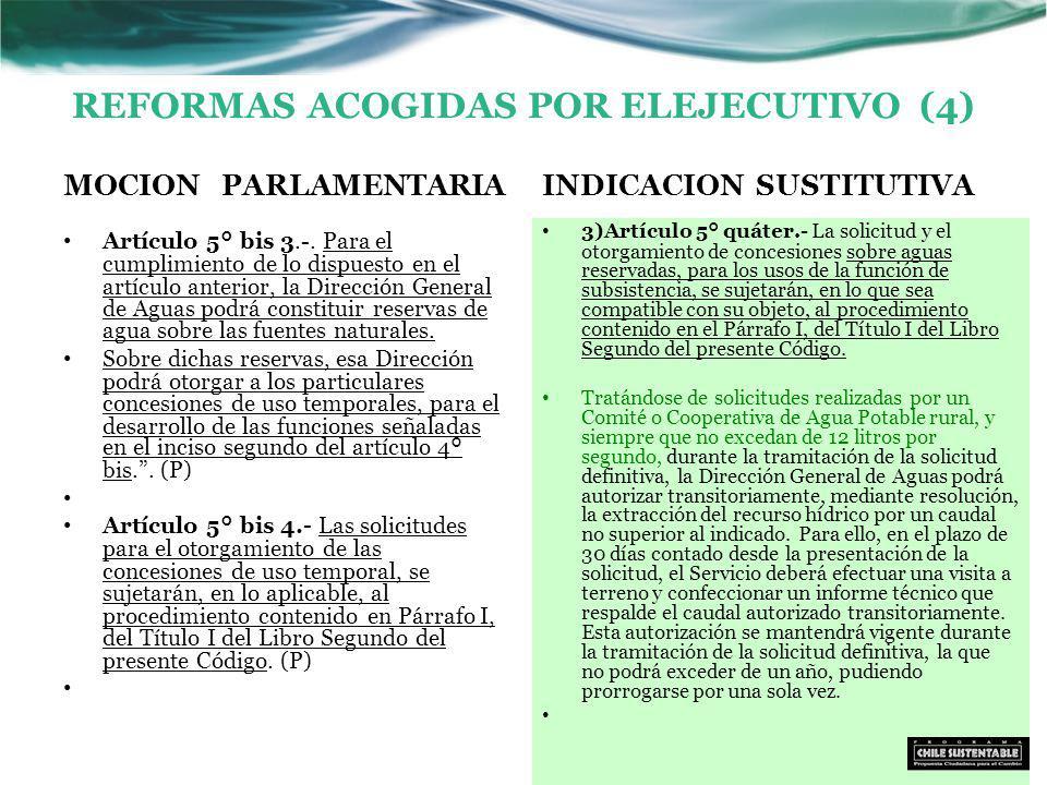 REFORMAS ACOGIDAS POR ELEJECUTIVO (4) MOCION PARLAMENTARIA Artículo 5° bis 3.-.