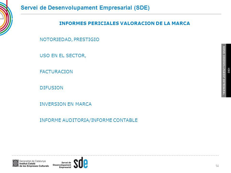 14 SERVEI DESENVOLUPAMENT EMPRESARIAL ICEC Servei de Desenvolupament Empresarial (SDE) INFORMES PERICIALES VALORACION DE LA MARCA NOTORIEDAD, PRESTIGIO USO EN EL SECTOR, FACTURACION DIFUSION INVERSION EN MARCA INFORME AUDITORIA/INFORME CONTABLE