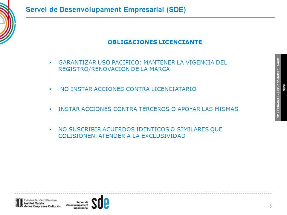 5 SERVEI DESENVOLUPAMENT EMPRESARIAL ICEC Servei de Desenvolupament Empresarial (SDE) OBLIGACIONES LICENCIANTE GARANTIZAR USO PACIFICO: MANTENER LA VIGENCIA DEL REGISTRO/RENOVACION DE LA MARCA NO INSTAR ACCIONES CONTRA LICENCIATARIO INSTAR ACCIONES CONTRA TERCEROS O APOYAR LAS MISMAS NO SUSCRIBIR ACUERDOS IDENTICOS O SIMILARES QUE COLISIONEN, ATENDER A LA EXCLUSIVIDAD