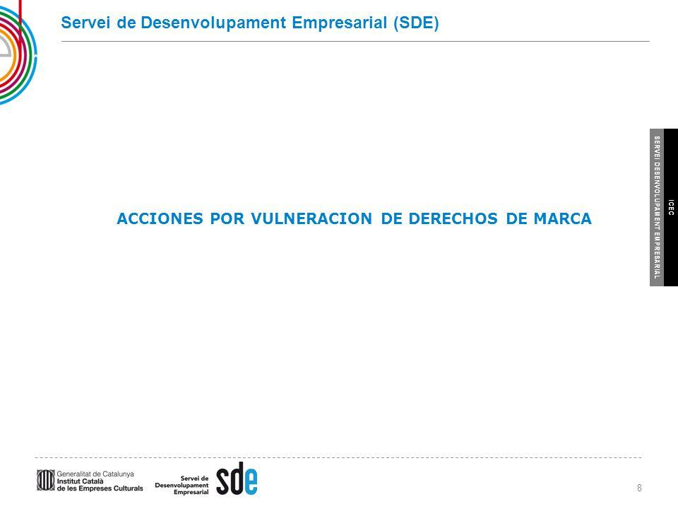 8 SERVEI DESENVOLUPAMENT EMPRESARIAL ICEC Servei de Desenvolupament Empresarial (SDE) ACCIONES POR VULNERACION DE DERECHOS DE MARCA