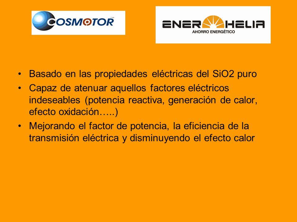 Basado en las propiedades eléctricas del SiO2 puro Capaz de atenuar aquellos factores eléctricos indeseables (potencia reactiva, generación de calor, efecto oxidación…..) Mejorando el factor de potencia, la eficiencia de la transmisión eléctrica y disminuyendo el efecto calor