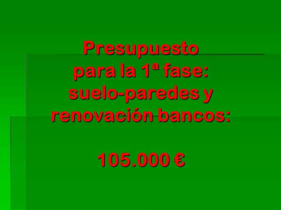 Presupuesto para la 1ª fase: suelo-paredes y renovación bancos: 105.000 €