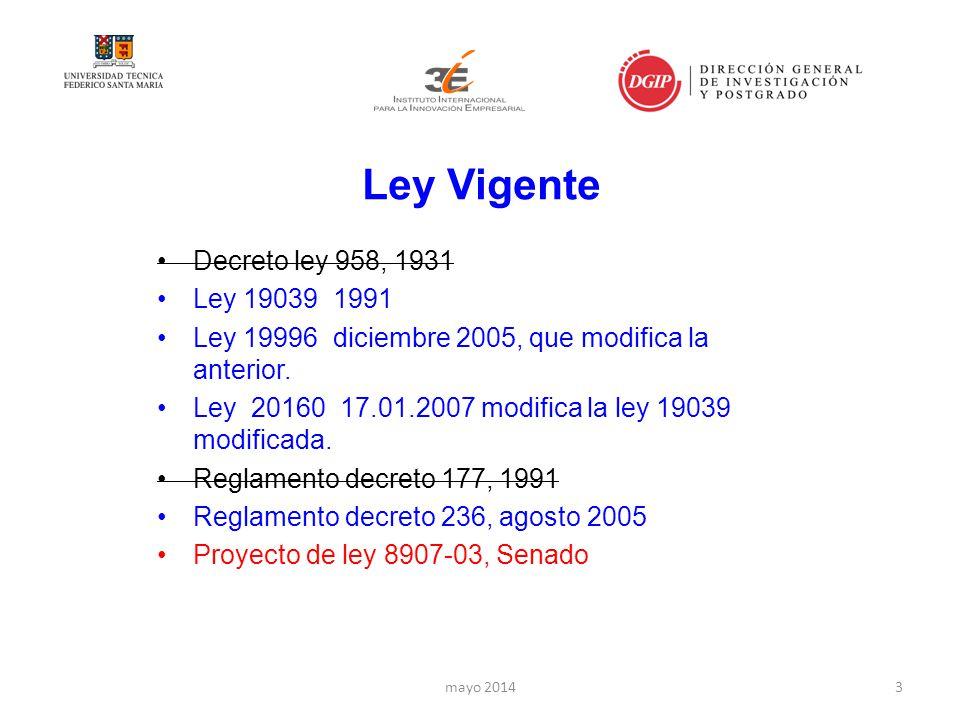 Ley Vigente Decreto ley 958, 1931 Ley 19039 1991 Ley 19996 diciembre 2005, que modifica la anterior.