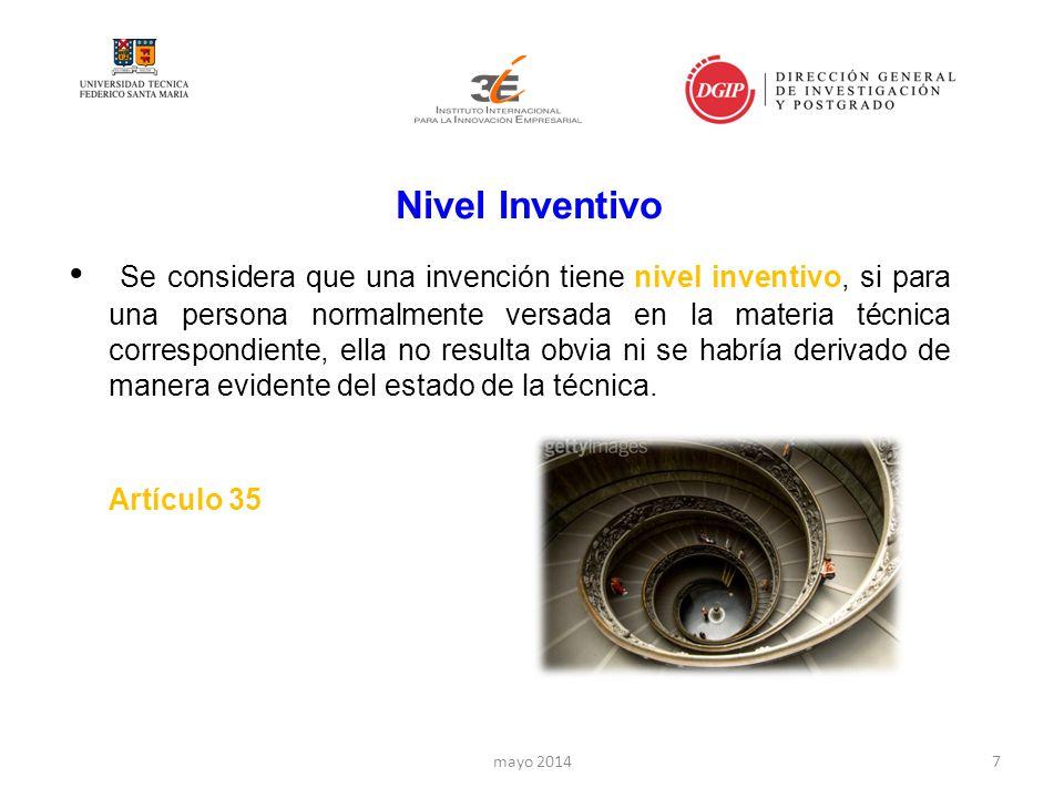 Nivel Inventivo Se considera que una invención tiene nivel inventivo, si para una persona normalmente versada en la materia técnica correspondiente, ella no resulta obvia ni se habría derivado de manera evidente del estado de la técnica.