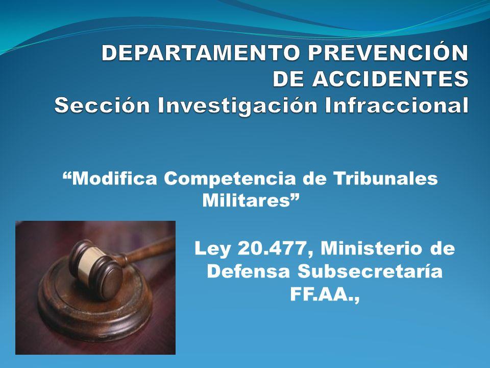 Ley 20.477, Ministerio de Defensa Subsecretaría FF.AA., Modifica Competencia de Tribunales Militares