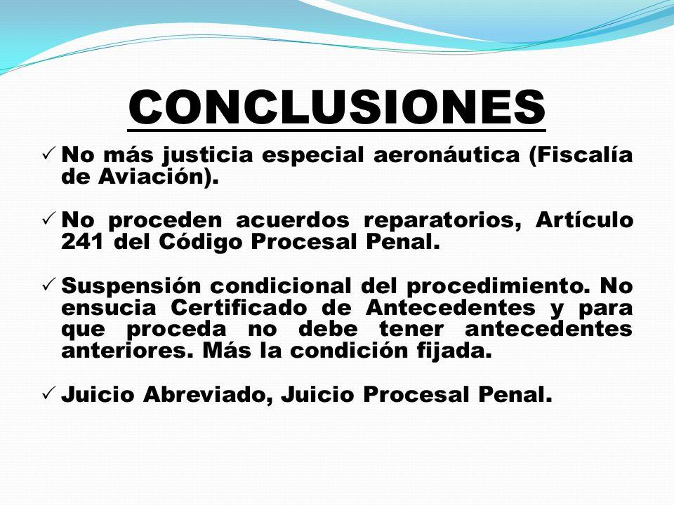 CONCLUSIONES  No más justicia especial aeronáutica (Fiscalía de Aviación).