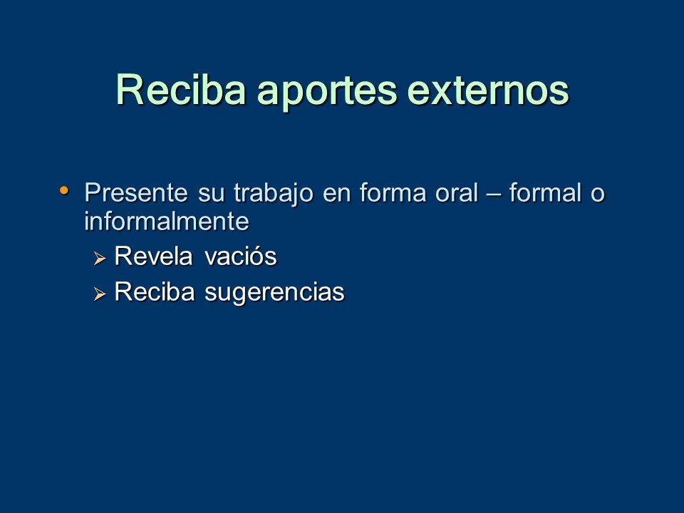 Reciba aportes externos Presente su trabajo en forma oral – formal o informalmente Presente su trabajo en forma oral – formal o informalmente  Revela vaciós  Reciba sugerencias