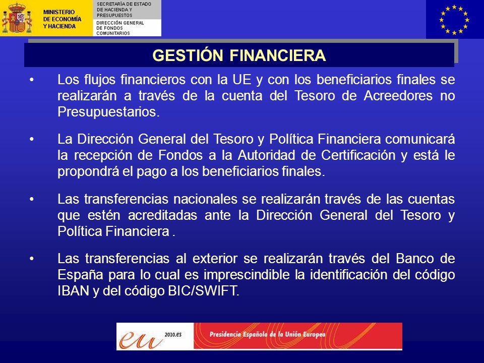 Los flujos financieros con la UE y con los beneficiarios finales se realizarán a través de la cuenta del Tesoro de Acreedores no Presupuestarios.